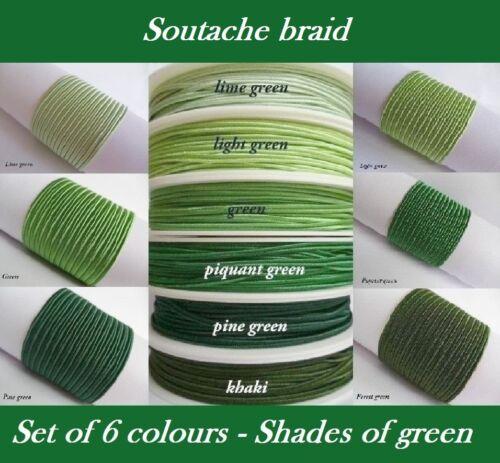 Original Soutache Braid Russia Cord 6 colours x 1 2 5 metres 100/% viscose 3mm