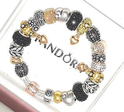 pandora charm bracelet with rose gold clasp