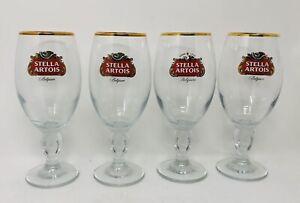 Set-of-4-Stella-Artois-Belgium-33cl-Goblet-Gold-Rimmed-Pub-Bar-Beer-Glasses