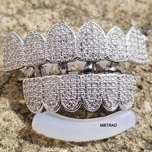 18K-White-Gold-Custom-GRILLZ-Teeth-Mouth-Caps-Top-Bottom-Hip-Hop-Grills