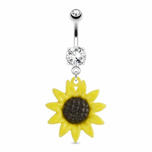 Piercing navel pendant sunflower