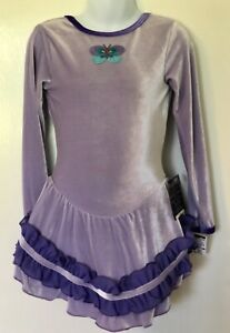 GK-LAVENDER-VELVET-CHILD-SMALL-LgSLV-BUTTERFLY-APPLIQUE-ICE-SKATE-DRESS-CS-NWT