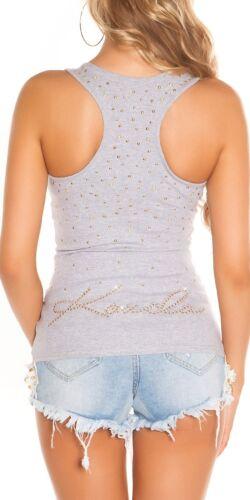 KouCla Shirt Top Débardeur avec rivets et perles