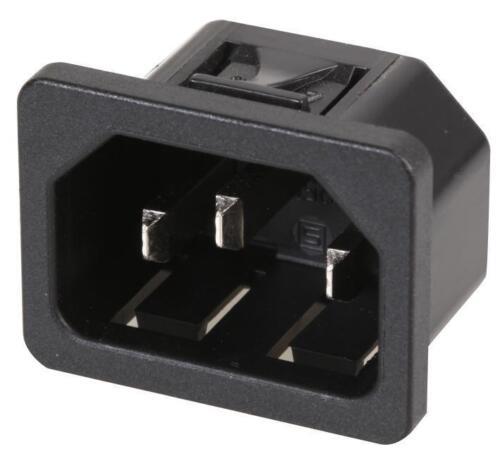 6100.432 dispositivo de Entrada IEC Schurter C14 Broche de presión en 6.3mm terminales de montaje del panel