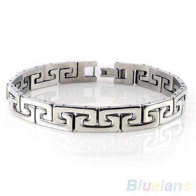 Popular Men's Punk Stainless Steel Chain Wristband Clasp Cuff Bangle Bracelet