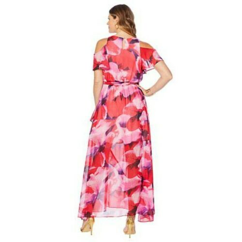 Colleen Lopez Black Floral Cold Shoulder Ruffle Flowy Summer Maxi Dress L New