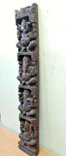Hindu Ganesha Wall Vertical Panel Vintage Sculpture Ganesh Wooden Home Art Decor