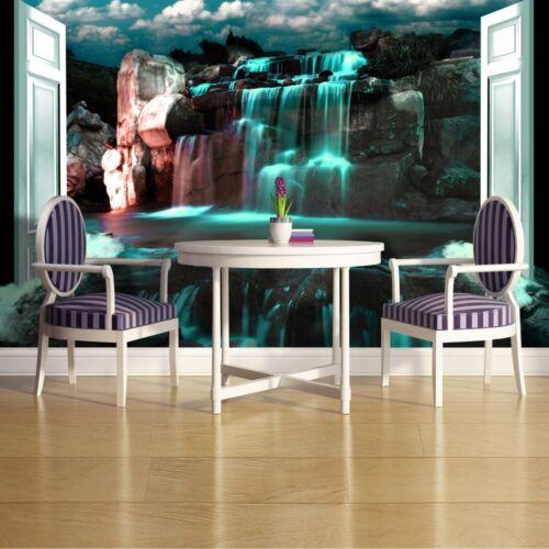 Fotomural papel pintado carteles foto papel pintado muro imagen cascada verde rocas 3fx2115p8