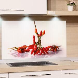Küchenrückwand Glas Küche Motiv Chili Weiß Spritzschutz Herd ...