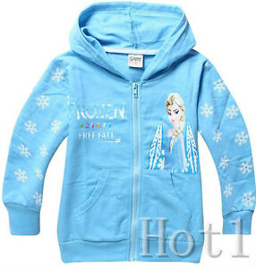 UK STOCK Frozen Hoodie Girls Jacket Zipped Jumper Elsa blue 2 3 4 ...