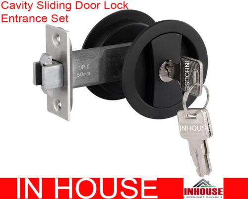 Cavity Sliding door Lock Entrance Set Matt Black FREE POSTAGE