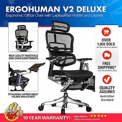 ERGOHUMAN V2 Deluxe Raynor Mesh Ergonomic Office Chair with Laptop, ipad Holder