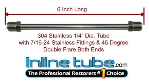"1//4/"" Brake Line 6 INCH STAINLESS STEEL 7//16-24 Tube Nuts 45 Degree Double Flare"