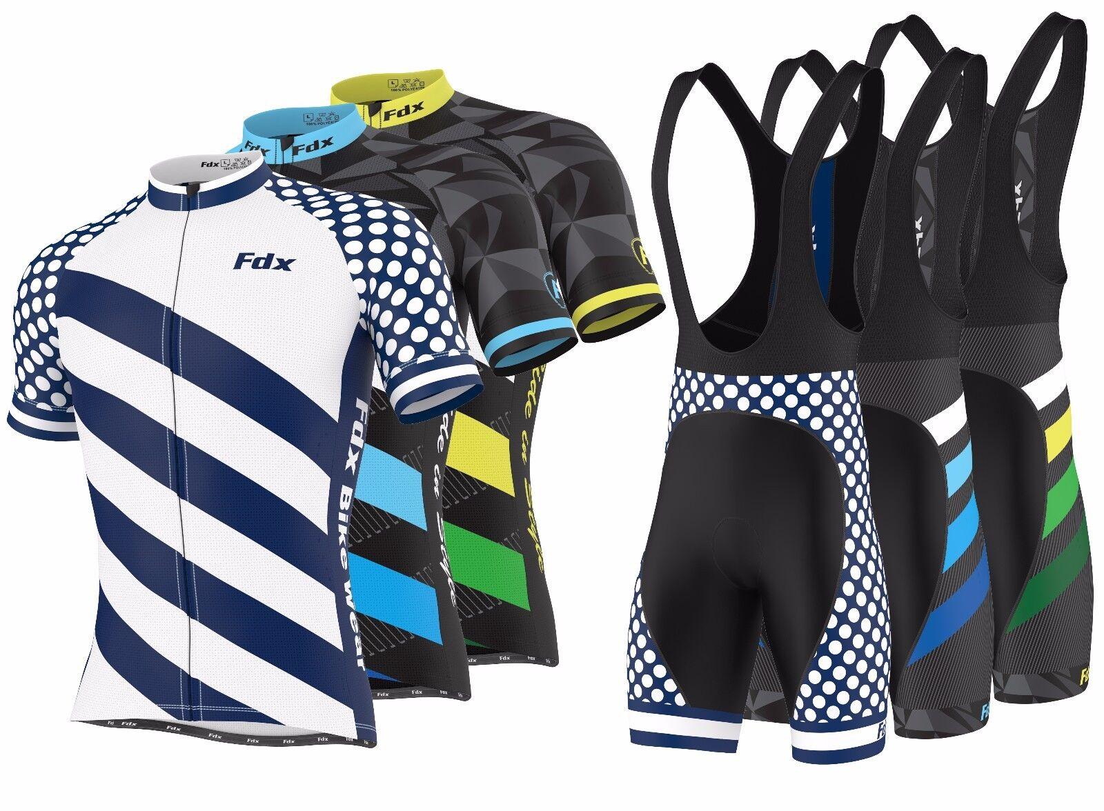 FDX Mens  Limited Edition  Cycling Bib Gel Padded shorts + Cycling Jersey Combo