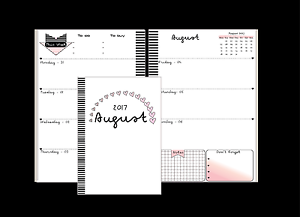 "Planner refill 2017-2018, for Filofax or Kikki A5 size ""Black-Pink """
