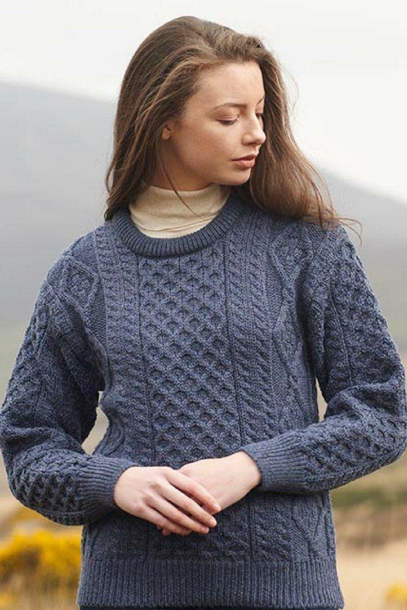 Unisex Blau Aran Wool Sweater Irish Made by West End Knitwear Ireland c1347