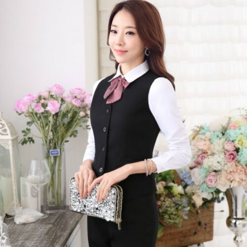 Women 2PCS Formal Waistcoat Bodycon Skirt Suit Vest Slim Fitted Office Work Wear