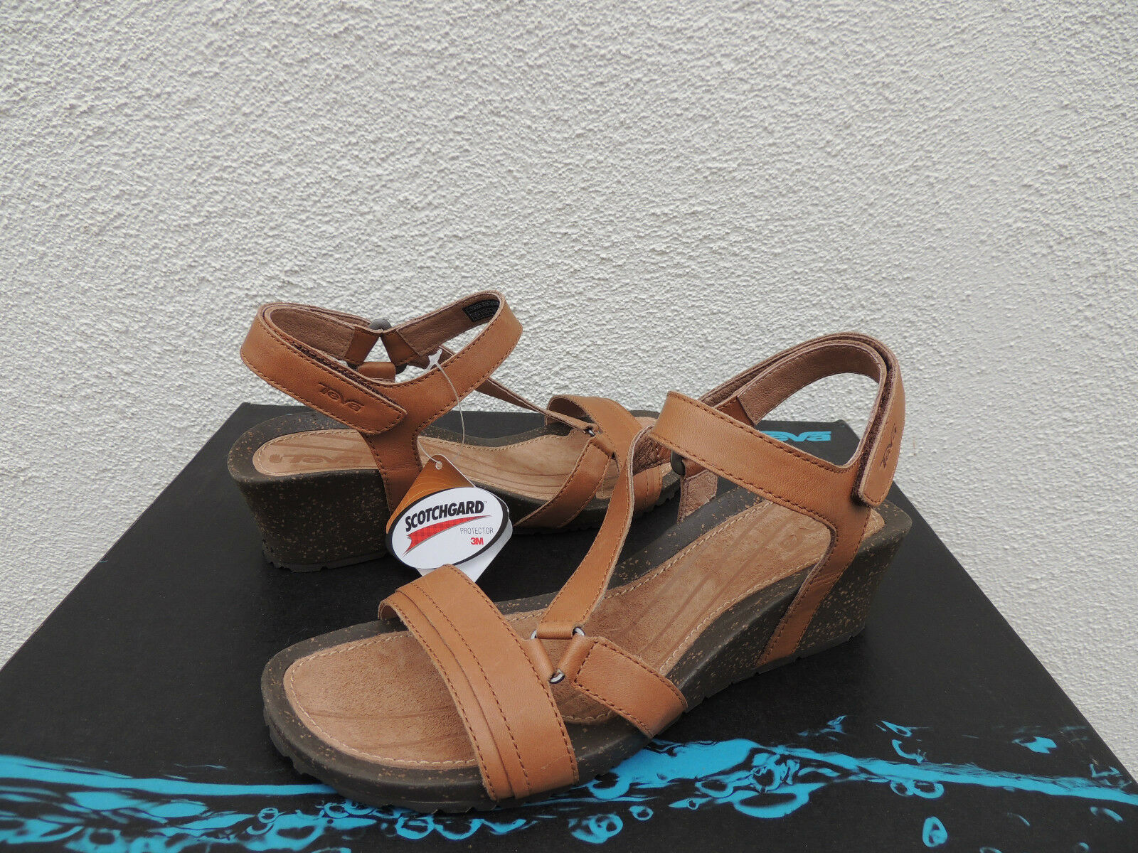 TEVA TAN CABRILLO CROSSOVER WEDGE LEATHER SANDALS,   9.5/ EUR 40.5 ~NIB