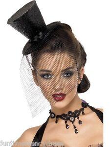 Mad-Hatter-Alice-Black-Glitter-Burlesque-Mini-Top-Hat-amp-Veil-Fancy-Dress