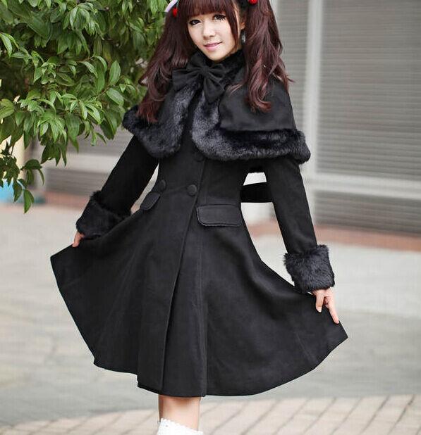 Princess dress womens cloak bow double breasted long slim winter parkas coat c50