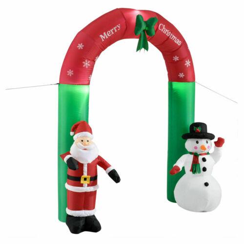 XXL LED Weihnachtsbogen 240cm Weihnachtsmann+Schneemann aufblasbar Garten Deko