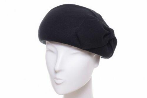 McBurn Kappe Wollfilz schwarz Baskenmütze Pill Box Stil Abendkappe elegant Damen