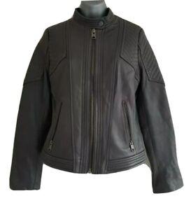 Michael-Kors-Femmes-Gris-Cuir-Veritable-Zip-up-Veste-d-039-aviateur-taille-S