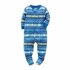 Boys Fair Isle Christmas Holiday Reindeer Hooded Fleece Pajama Sleeper