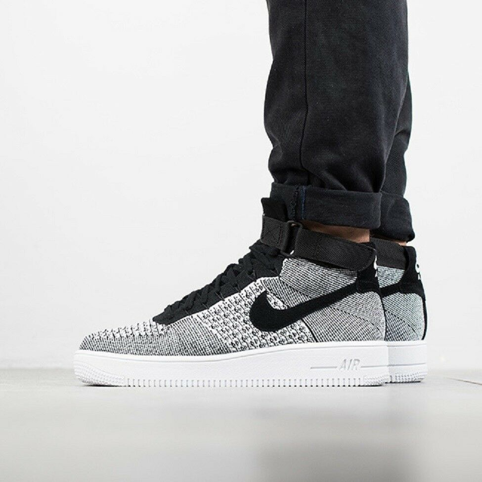 NIKE AF1 ULTRA FLYKNIT Mid Baskets Gym Casual Fashion Noir Blanc Tailles Diverses