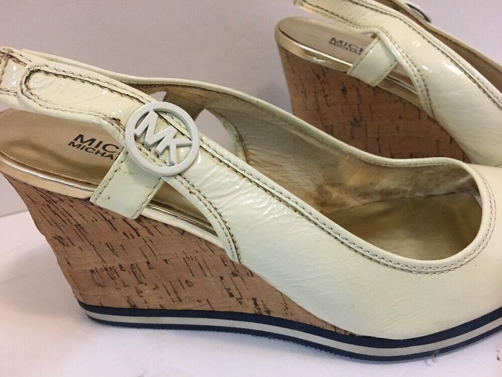 Miichael Kors open toe sandals patent leather wedge sandals toe Sz 10 Ivory 34cadc