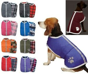 Used-Noreaster-Blanket-Coat-Many-Sizes-Reversible-Dog-Jacket-Reflective-Fleece