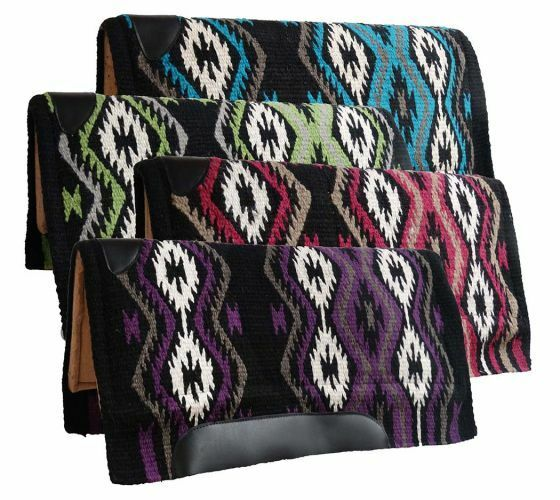 Showman Western SADDLE PAD 36  x 34  MEMORY FELT Navajo Diamond Woven Wool Top
