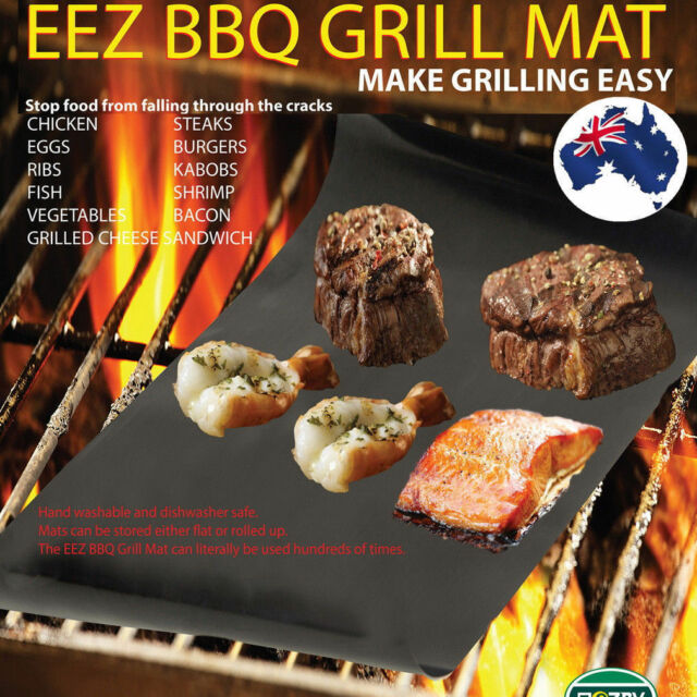 2pcs Reusable Non-stick Surface BBQ Grill Mat Baking Easy Clean Grilling U1