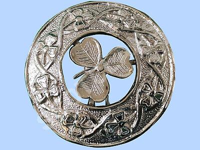 "Large shamrock   Scottish Kilt Fly Plaid Brooch Chrome Finish 3/"""