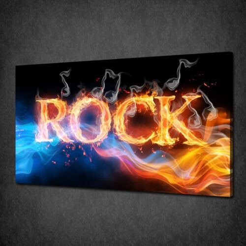 ROCK SIGN ON FIRE MUSIC SMOKE CANVAS WALL ART PRINT PICTURE READY TO HANG