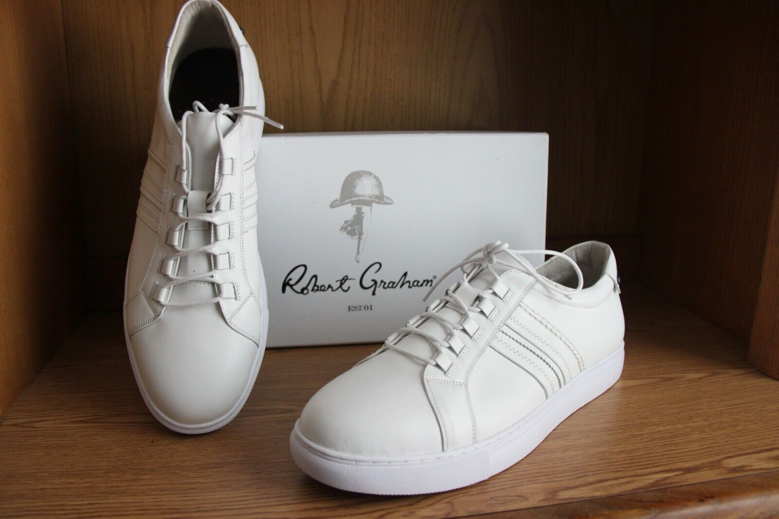 Robert Graham Horton Leather Fashion Sneaker Men White Size 12