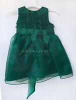 Dorissa Baby Girls Green Boutique Style Dress, Girls Christmas Dress 3m,9m,12m