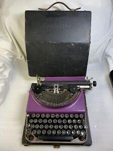 Rare Working Remington Portable 3 Manual Typewriter Purple and Pink