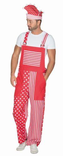 Herren Kostüm Latzhose in rot-weiß Clown Karneval Fasching Rub
