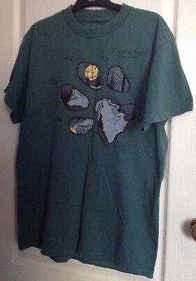 2019 Moda Wolf T-shirt/vintage 80/90s/yukon/alaska/verde.- Qualità E Quantità Assicurate
