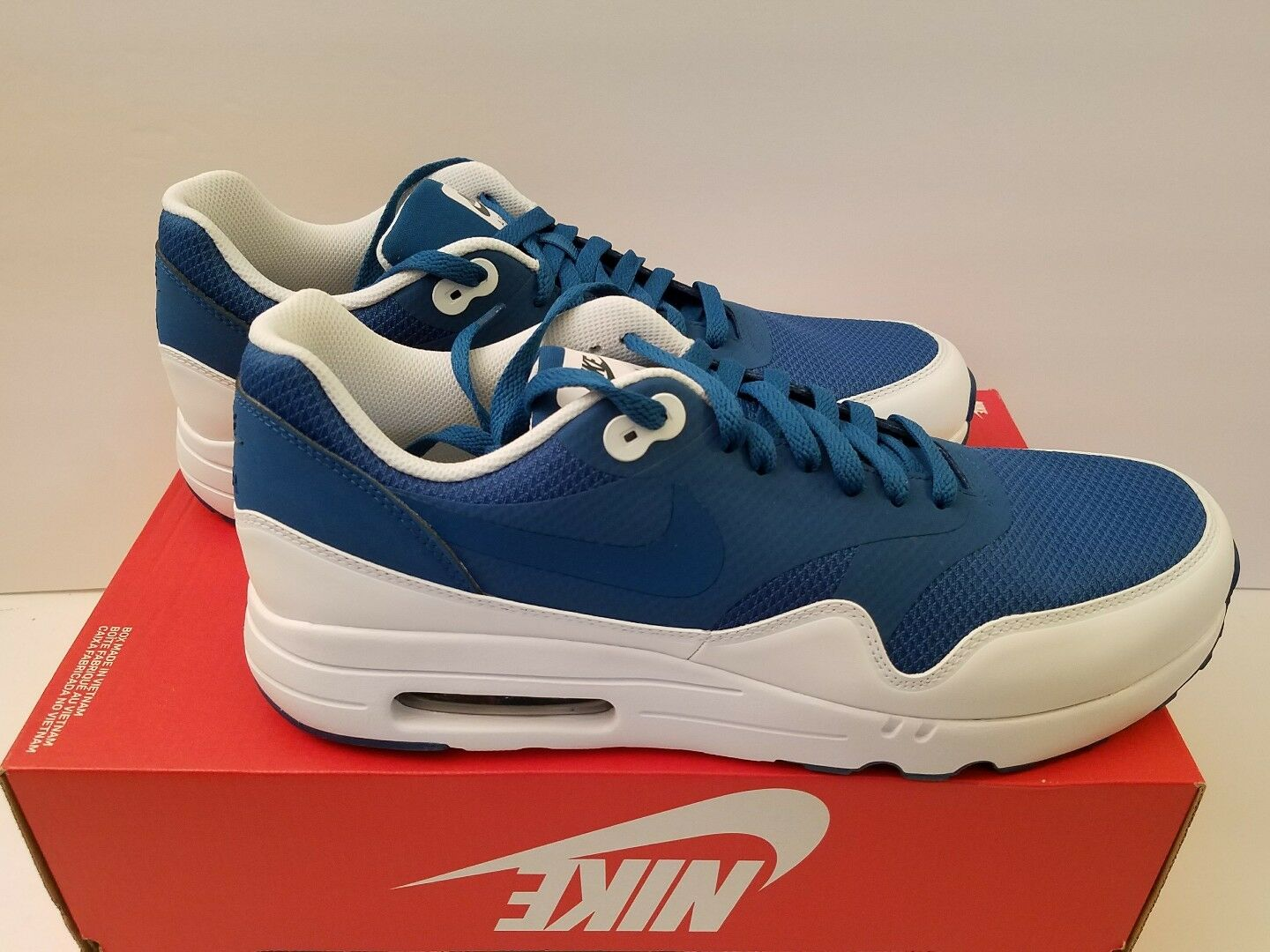 NIKE AIR MAX 1 ULTRA 2.0 ESSENTIAL Size 12.5 INDUSTRIAL blueE WHITE-ARMORY NAVY