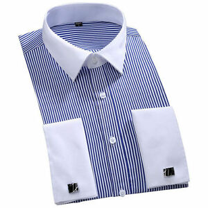Mens-Long-Sleeves-Shirts-French-Cuff-Business-Strips-Dress-With-Cufflinks-T6340