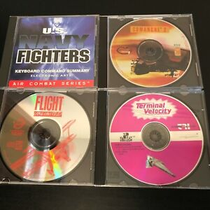 Windows-PC-CD-Rom-Flight-4-Game-lot-U-S-Navy-Fighters-Comanche-2-Terminal-Veloc