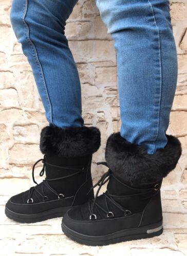 Damen Stiefeletten gefüttert Stiefel Boots Winter Schnee Schlupf ST321