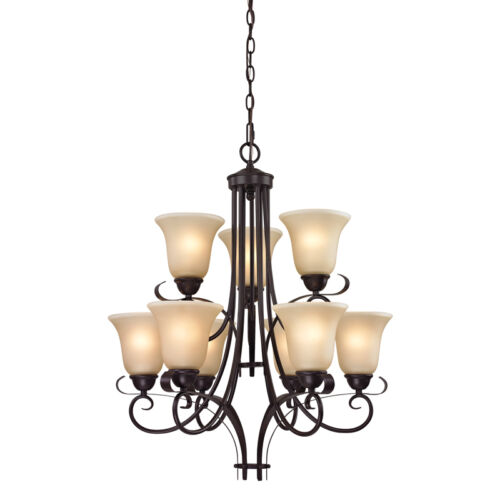 cornerstone lighting brighton. 1 of - cornerstone / elk lighting 1009ch/10 brighton 9 light chandelier bronze n