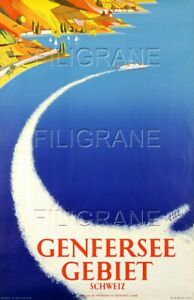GENFERSEE GEBIET SUISSE Rbhb - POSTER HQ 50x70cm* d'1 AFFICHE VINTAGE