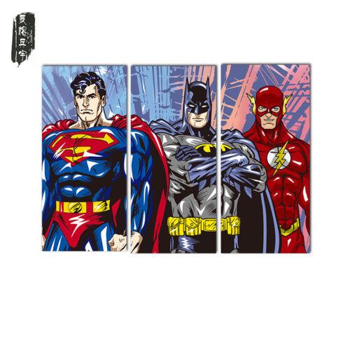 Art Wall 3PCS Superman Batman Wall Oil Painting Poster Christmas Gift Frameless