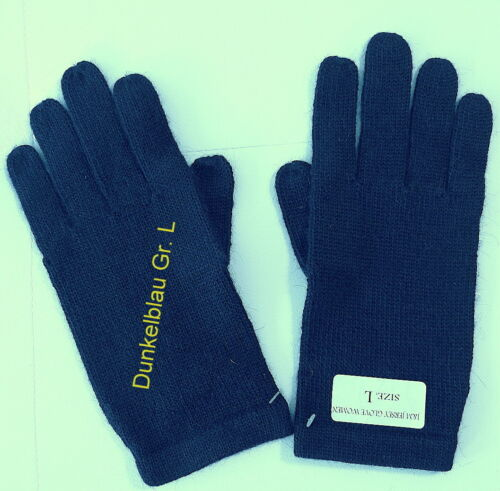 Damen Strick-Handschuhe Dunkelblau Einfarbig aus 100/% Alpakawolle Gr L-NEU!