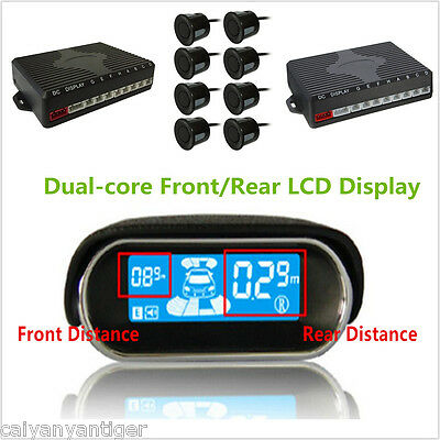 Dual-core Front//Rear LCD Display Car Reverse Backup Radar 8 Black Parking Sensor