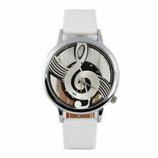 Treble Clef Music Note Watch White Leather PU Strap Musical Transparent